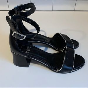 MA LO Black Leather Sandals-Heels- Sz 9.5 or 40